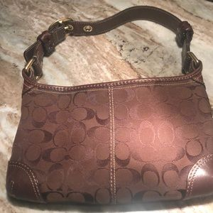 Coach bag Brown with Leather trim and gold hdwe